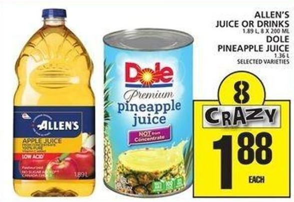 Allen's Juice Or Drinks Or Dole Pineapple Juice