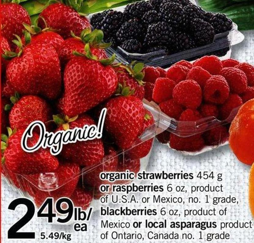 Organic Strawberries 454 G Or Raspberries 6 Oz - Blackberries 6 Oz Or Local Asparagus