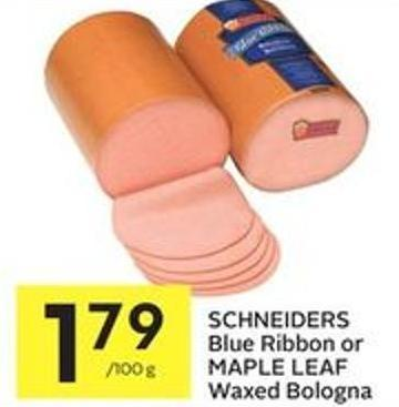 Schneiders Blue Ribbon or Maple Leaf Waxed Bologna