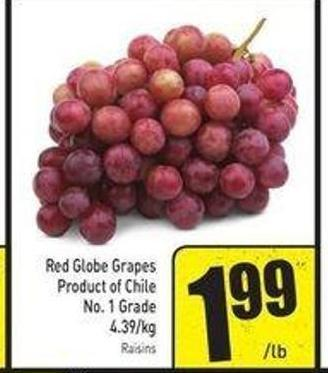 Red Globe Grapes Product of Chile No. 1 Grade