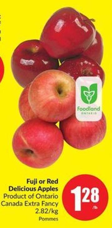 Fuji or Red Delicious Apples Product of Ontario Canada Extra Fancy 2.82/kg