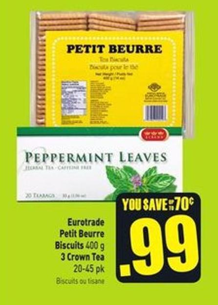 Eurotrade Petit Beurre Biscuits 400 g 3 Crown Tea 20-45 Pk