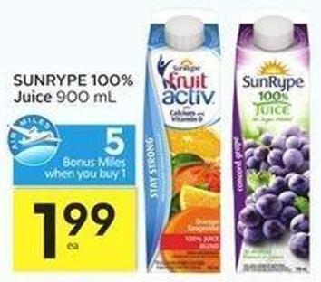 Sunrype 100% Juice - 5 Air Miles Bonus Miles