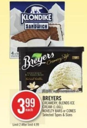 Breyers Creamery - Blends Ice Cream (1.66l) - Novelty Bars or Cones