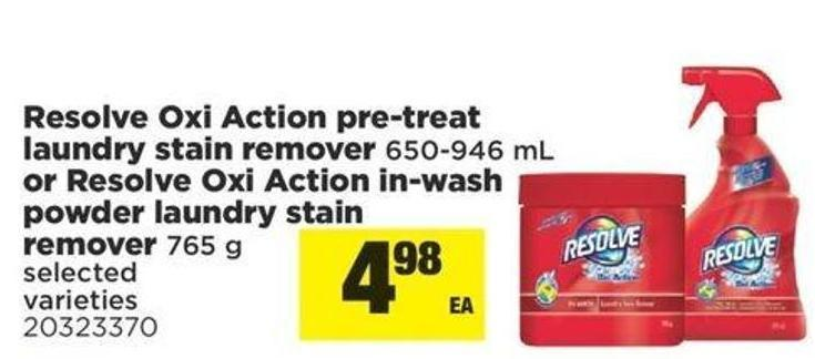 Resolve Oxi-action Pre-treat Laundry Stain Remover 650-946 Ml Or Resolve Oxi-action In-wash Powder Laundry Stain Remover 765 G