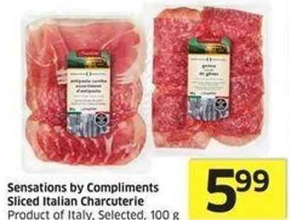 Sensations By Compliments Sliced Italian Charcuterie Product of Italy - Selected - 100 g