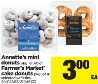 Annette's Mini Donuts - Pkg Of 40 Or Farmer's Market Cake Donuts - Pkg Of 4