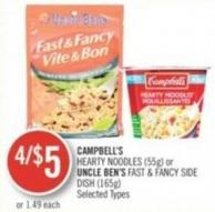 Campbell's Hearty Noodles (55g) or Uncle Ben's Fast & Fancy Side Dish (165g)