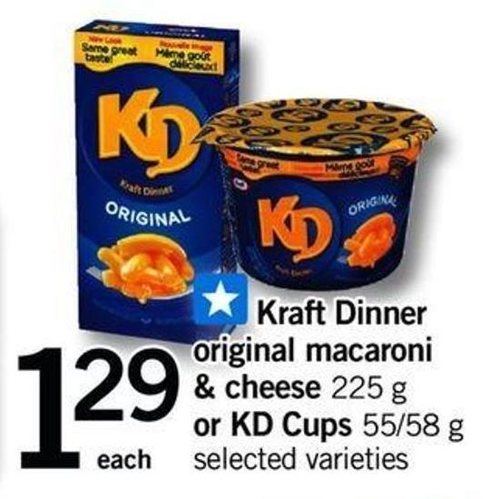 Kraft Dinner Original Macaroni & Cheese - 225 G Or Kd Cups - 55/58 G