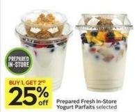 Prepared Fresh In-store Yogurt Parfaits Selected