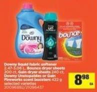 Downy Liquid Fabric Softener - 2.47-3.06 L - Bounce Dryer Sheets - 200 Ct - Gain Dryer Sheets - 240 Ct - Downy Unstopables Or Gain Fireworks Scent Boosters - 422 g