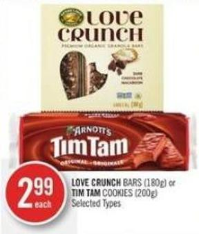 Love Crunch Bars (180g) or Tim Tam Cookies (200g)