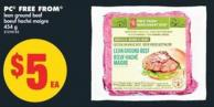 PC Free From Lean Ground Beef - 454 g