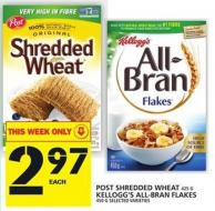 Post Shredded Wheat Or Kellogg's All-bran Flakes