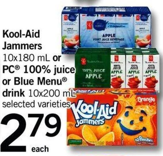Kool-aid Jammers - 10x180 Ml Or PC 100% Juice Or Blue Menu Drink - 10x200 Ml