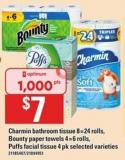 Charmin Bathroom Tissue 8=24 Rolls - Bounty Paper Towels 4=6 Rolls - Puffs Facial Tissue 4 Pk