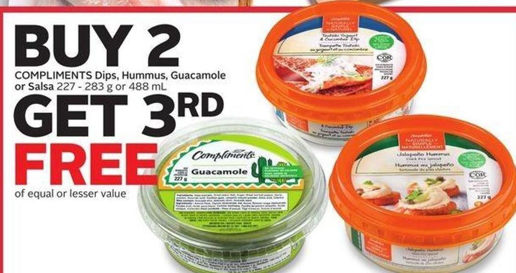 Compliments Dips - Hummus - Guacamole or Salsa