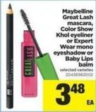 Maybelline Great Lash Mascara - Color Show Khol Eyeliner Or Expert Wear Mono Eyeshadow Or Baby Lips Balm