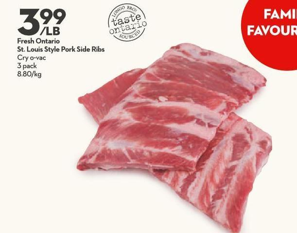Fresh Ontario St. Louis Style Pork Side Ribs Cry O-vac 3 Pack