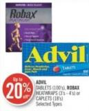 Advil Tablets (100's) - Robax Heatwraps (3's - 4's) or Caplets (18's)