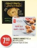 Farmer's Market Pies or PC Appetizers