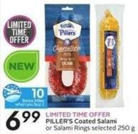 Piller's Coated Salami or Salami Rings Selected 250 g - 10 Air Miles Bonus Miles
