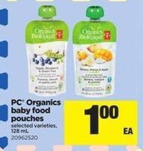 PC Organics Baby Food Pouches - 128 mL