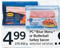 Pcblue Menu Or Butterball Turkey Bacon - 375-450 g