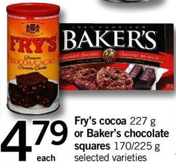 Fry's Cocoa - 227 G Or Baker's Chocolate Squares - 170/225 G