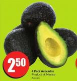 4 Pack Avocados Product of Mexico Avocats