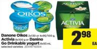 Danone Oikos - 2x130 or 4x95/100 g - Activia - 8x100 g Or Danino Go Drinkable Yogurt - 8x93 mL