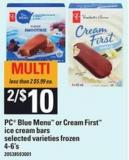 PC Blue Menu Or Cream First Ice Cream Bars - 4-6's