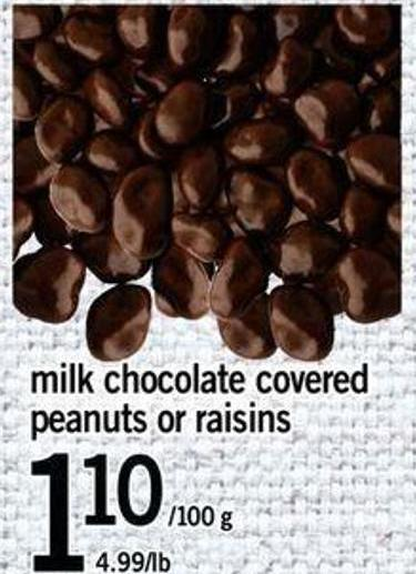 Milk Chocolate Covered Peanuts Or Raisins