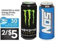 Monster or Nos Energy Drinks 30 Air Miles Bonus Miles 440-550 mL