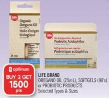 Life Brand Oregano Oil (25ml) - Softgels (90's) or Probiotic Products