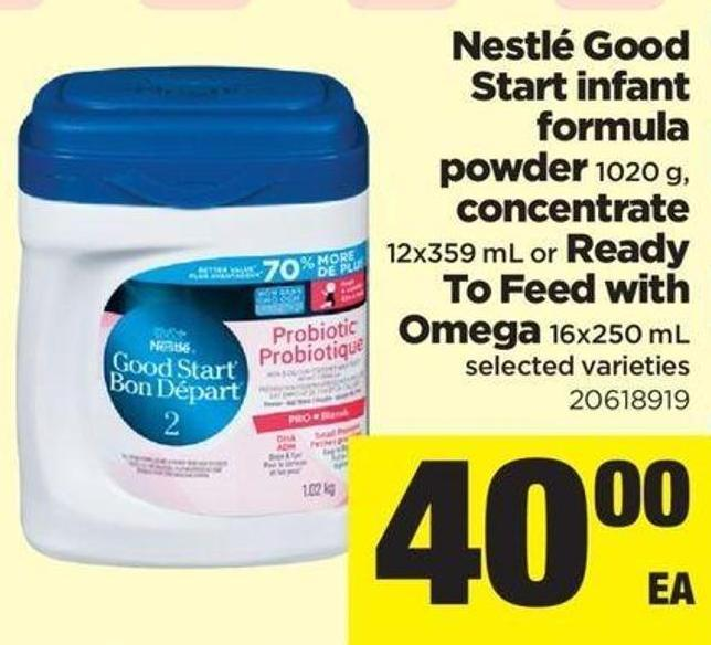 Nestlé Good Start Infant Formula Powder - 1020 G - Concentrate - 12x359 Ml Or Ready To Feed With Omega - 16x250 Ml