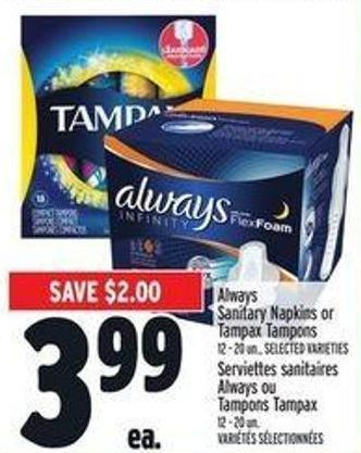 Always Sanitary Napkins Or Tampax Tampons