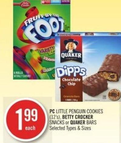PC Little Penguin Cookies - Betty Crocker Snacks or Quaker Bars
