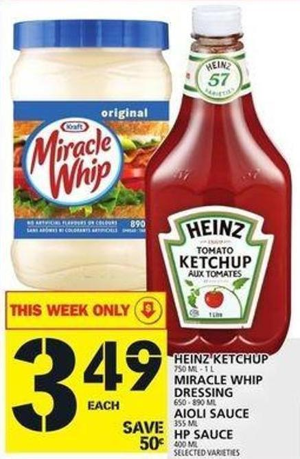 Heinz Ketchup Or Miracle Whip Dressing