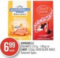 Ghiradelli  Squares (151g - 166g) or Lindt (150g) Chocolate Bags