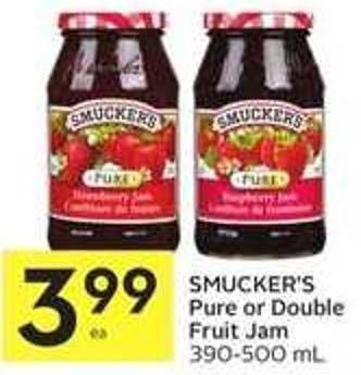 Smucker's Pure or Double Fruit Jam 390-500 mL