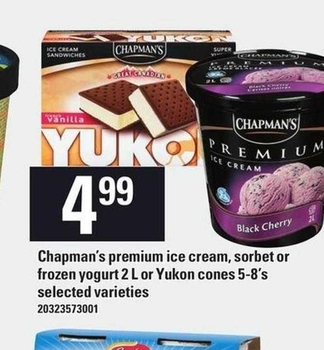 Chapman's Premium Ice Cream - Sorbet Or Frozen Yogurt - 2 L Or Yukon Cones 5-8's