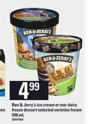 Ben & Jerry's Ice Cream Or Non-dairy Frozen Dessert - 500 Ml