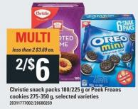 Christie Snack Packs - 180/225 g or Peek Freans Cookies - 275-350 g