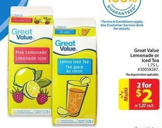 Great Value Lemonade or Iced Tea