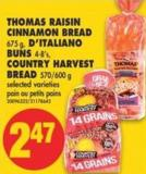 Thomas Raisin Cinnamon Bread - 675 g - D'italiano Buns - 4-8's - Country Harvest Bread - 570/600 g