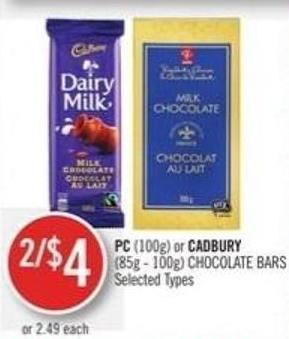 PC (100g) or Cadbury (85g - 100g) Chocolate Bars