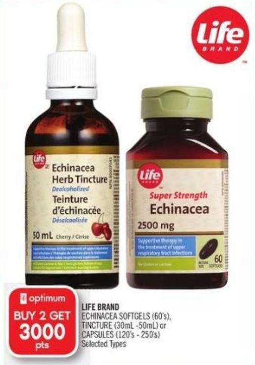 Life Brand Echinacea Softgels (60's) - Tincture (30ml -50ml) or Capsules (120's - 250's)