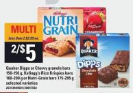 Quaker Dipps Or Chewy Granola Bars 150-156 g - Kellogg's Rice Krispies Bars 160-200 g Or Nutri-grain Bars 175-295 g