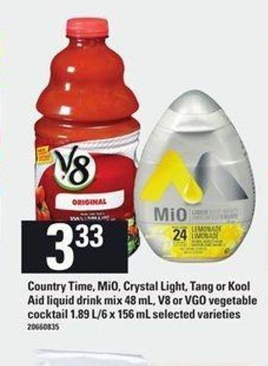Country Time - Mio - Crystal Light - Tang Or Kool Aid Liquid Drink Mix - 48 Ml - V8 Or Vgo Vegetable Cocktail - 1.89 L/6 X 156 Ml